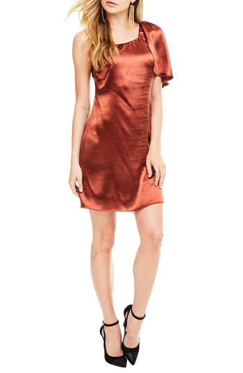 Astr The Label Crystalyn One Shoulder Minidress, Brown