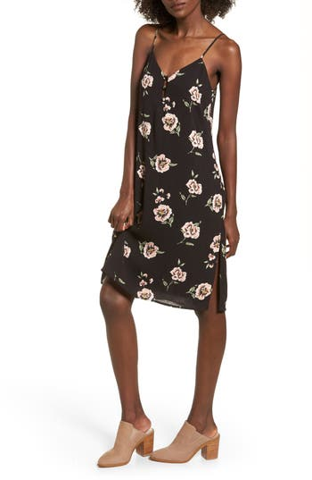 Women's Dee Elly Floral Slipdress, Size Small - Black