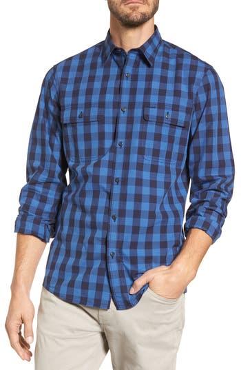 Nordstrom Shop Trim Fit Plaid Trucker Sport Shirt, Blue