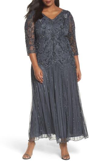 Plus Size Pisarro Nights Embellished Double V-Neck Midi Dress, Grey