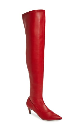 Topshop Crawler Over The Knee Boot - Red