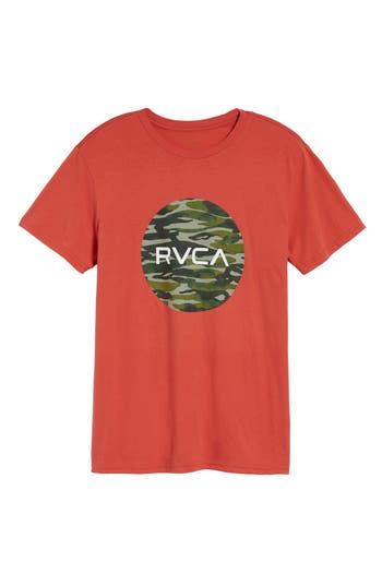 Rvca Water Camo Motors Graphic T-Shirt, Red