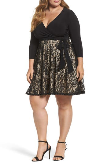 Plus Size Women's Soprano Lace Skirt Skater Dress, Size 1X - Black