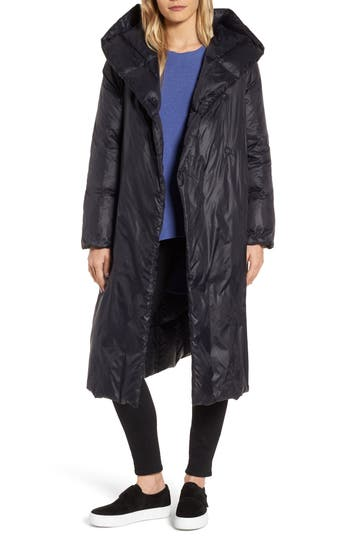 Eileen Fisher Shawl Hood Down Coat, Black