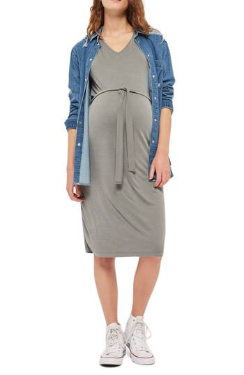 Topshop Belted Maternity T-Shirt Dress, US (fits like 0-2) - Green