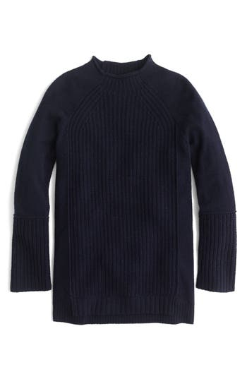 J.crew New England Mock Neck Wool Tunic Sweater, Blue