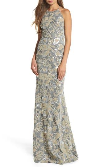 Badgley Mischka Sequin Embroidered Velvet Halter Gown, Metallic