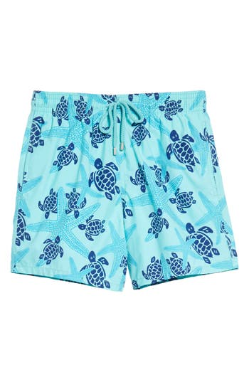Vilebrequin Starlettes & Turtles Swim Trunks, Blue