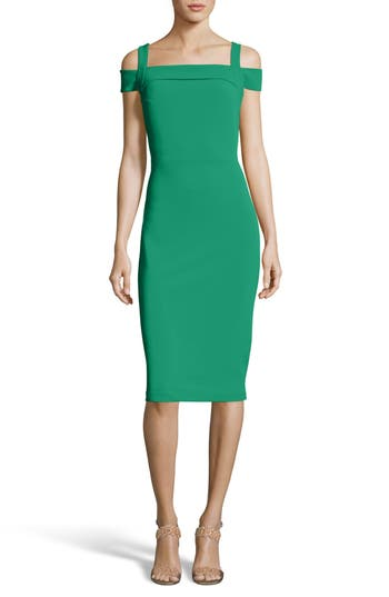 Eci Cold Shoulder Ruffle Sheath Dress, Green