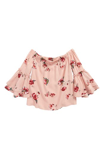 Girls Love Fire Floral Print Off The Shoulder Top