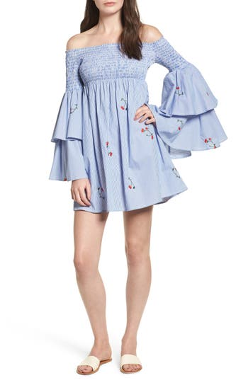 Women's Soprano Smocked Off The Shoulder Bell Sleeve Dress, Size X-Small - Blue