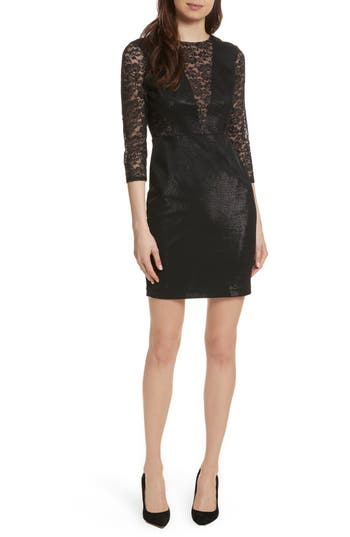 Tracy Reese Lace Combo Sheath Dress, Black