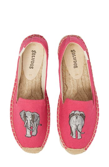 Soludos Embroidered Platform Espadrille, Pink