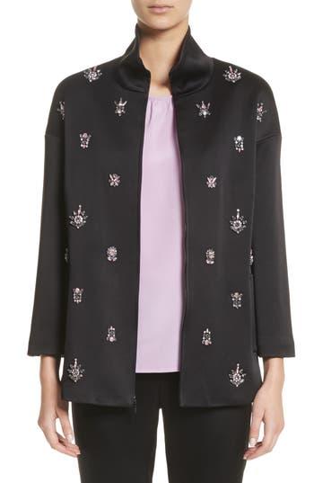 Women's St. John Collection Crystal Embellished Satin Jacket