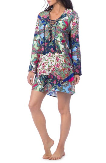 Women's La Blanca Scarf Gypsy Lace Front Cover-Up Tunic, Size X-Small - Blue