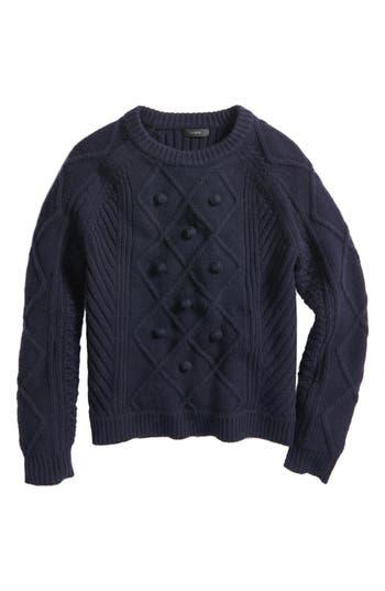 Women's J.crew Hawthorne Cable Pom-Pom Sweater, Size XX-Small - Blue