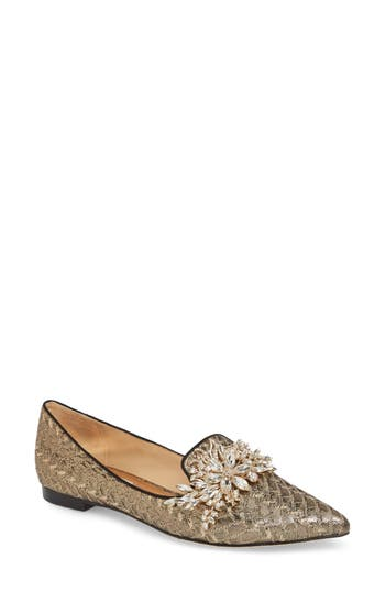 Badgley Mischka Mandy Embellished Loafer Flat, Metallic