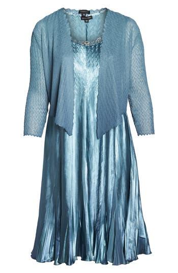 Plus Size Komarov Embellished Charmeuse & Chiffon Dress With Jacket