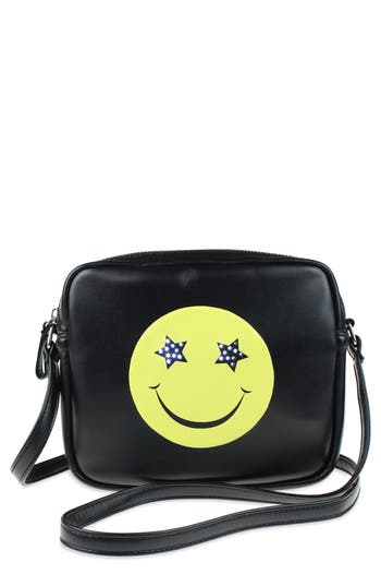 Girls Capelli New York Led LightUp Smiley Faux Leather Crossbody Bag