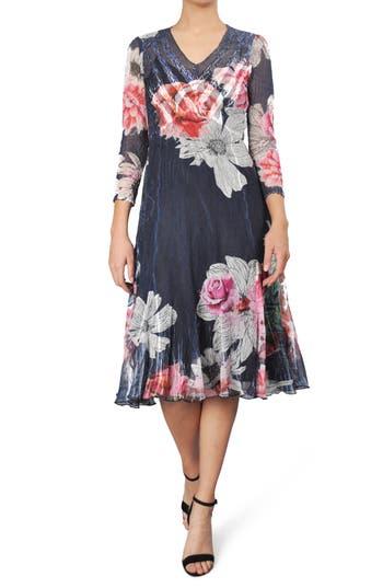 Komarov Floral Print Chiffon A-Line Dress, Blue