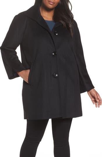 Plus Size Ellen Tracy Kimono Wool Blend Coat, Black