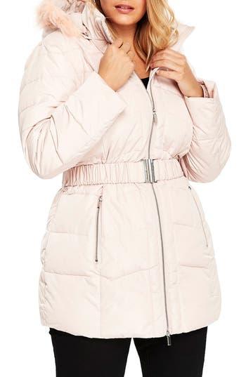 Plus Size Evans Padded Coat With Faux Fur Trim Hood, US / 18 UK - Pink