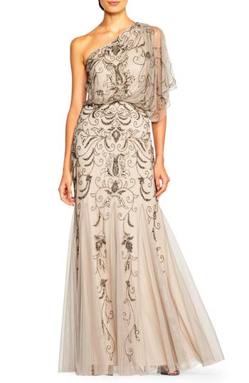 Adrianna Papell Beaded One-Shoulder Blouson Gown, Grey
