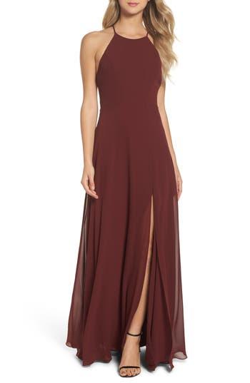 Jenny Yoo Kayla A-Line Halter Gown, Burgundy