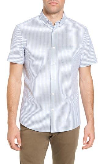 1901 Trim Fit Seersucker Short Sleeve Sport Shirt, Blue