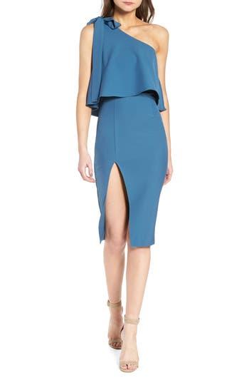 Missguided One-Shoulder Overlay Sheath Dress, US / 6 UK - Blue/green