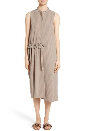 Fabiana Filippi Asymmetrical Ruffle Pinstripe Dress, 8 IT - Beige