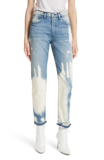 3x1 nyc female womens 3x1 nyc w3 higher ground bleached ankle slim fit jeans size 23 blue
