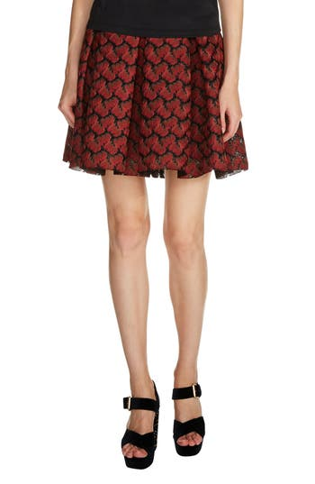 Women's Maje Pleated Lace Skirt, Size 3 - Red