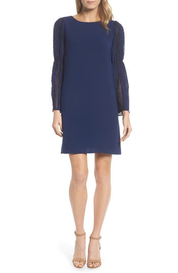 Adrianna Papell Bell Sleeve Trapeze Dress, Blue