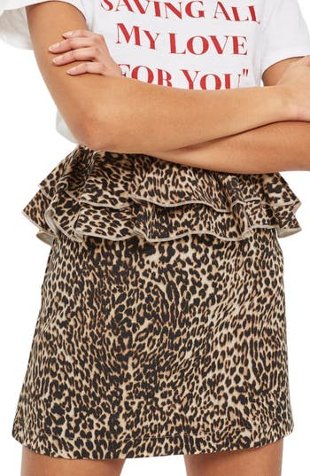 Topshop Leopard Print Ruffle Skirt, US (fits like 0) - Brown
