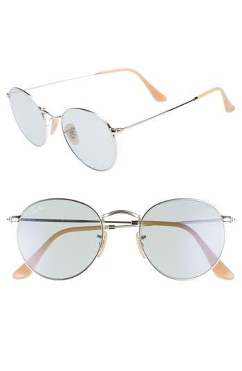 Ray-Ban Evolve 50Mm Polarized Round Sunglasses - Silver/ Blue