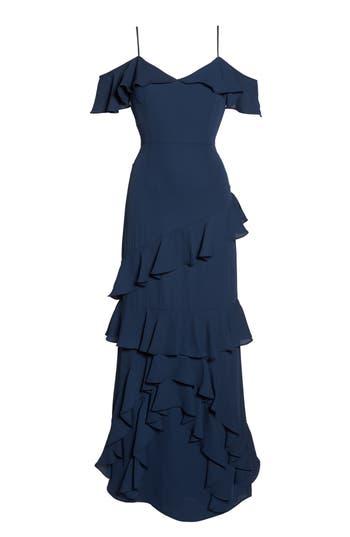 Wayf Danielle Off The Shoulder Tiered Crepe Dress, Blue