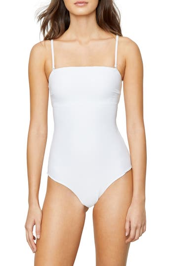 Onia Estelle Rib Convertible One-Piece Swimsuit, White