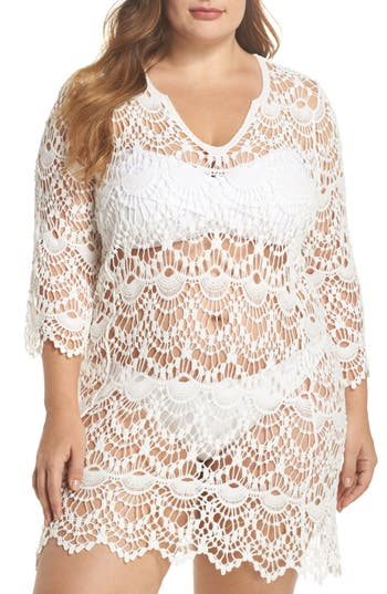 Plus Size Surf Gypsy Crochet Cover-Up Tunic, White