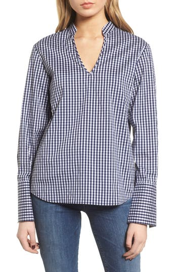 Women's Trouve Gingham Open Back Top, Size XX-Small - Blue