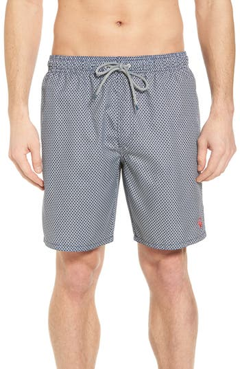 Ted Baker London Geo Print Swim Shorts, (m) - Blue