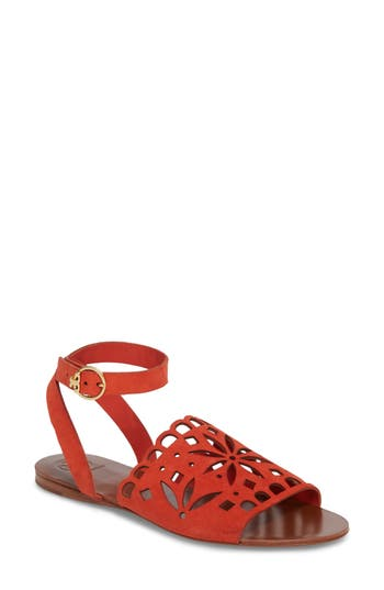 Women's Tory Burch May Perforated Ankle Strap Sandal, Size 5 M - Orange
