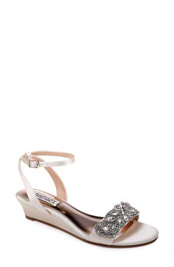 Badgley Mischka Hatch Crystal Embellished Sandal, White