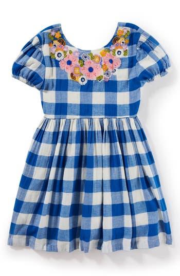 Girls Peek Penelope Embroidered Check Dress