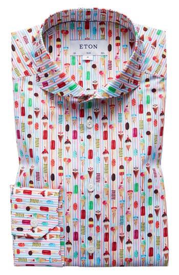 Men's Eton Slim Fit Ice Cream Print Dress Shirt, Size 15 - Pink