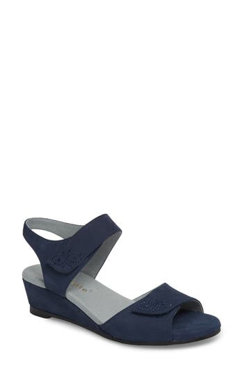 David Tate Queen Embellished Wedge Sandal, Blue