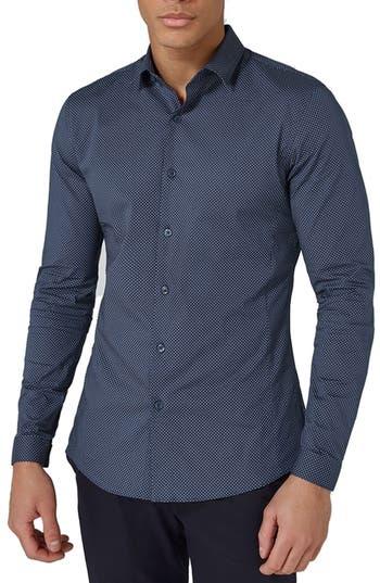Topman Polka Dot Stretch Smart Shirt, Blue