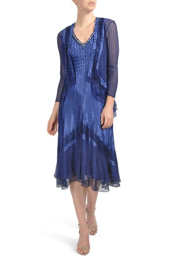 Women's Komarov Embellished Lace Trim Dress With Jacket, Size Small - Blue