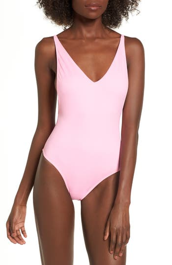 Topshop Pamela One-Piece Swimsuit, US (fits like 0) - Pink