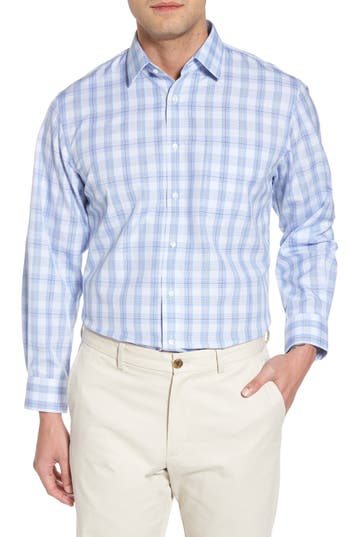 Big & Tall Nordstrom Shop Smartcare(TM) Traditional Fit Plaid Sport Shirt, 8 34/35 - Green
